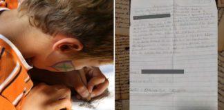 garoto escreve carta à mão para juíza