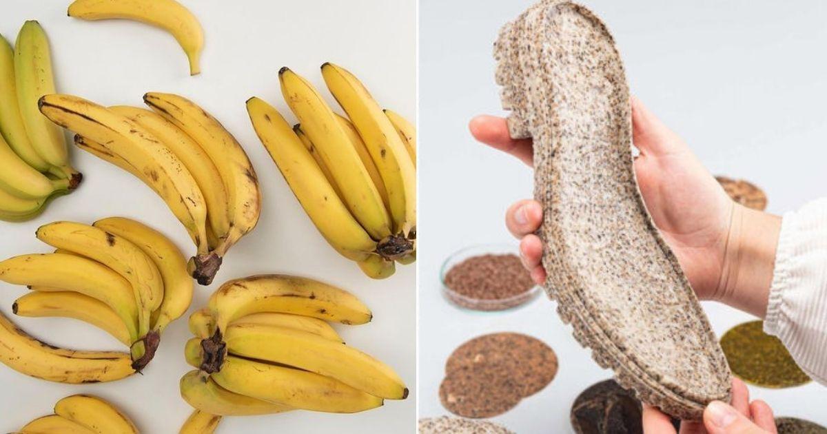 cachos de banana e solado de sapato sustentável
