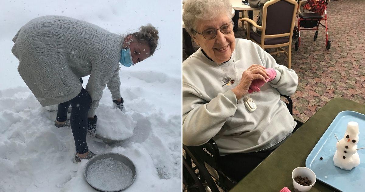 idosos montando bonecos de neve na casa de repouso