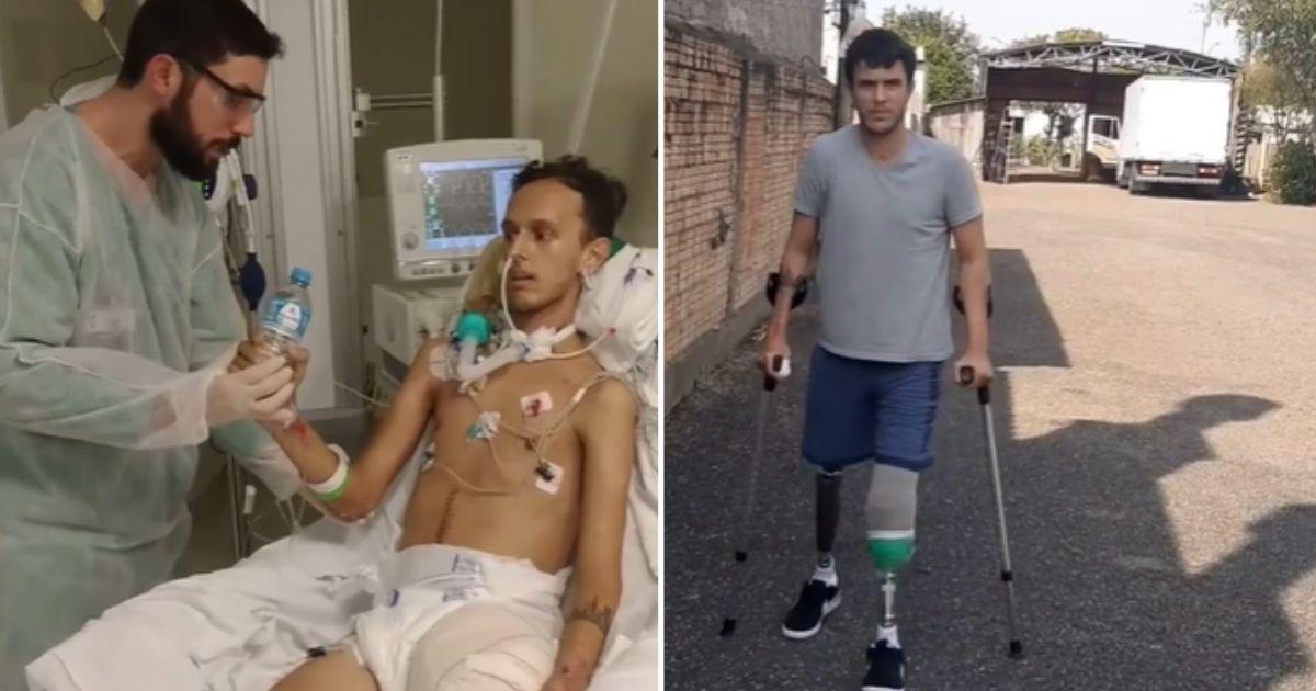 rapaz em maca hospital e, depois, andando de muletas