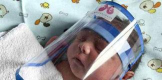 bebê recém-nascido máscara face shield rosto proteção covid-19