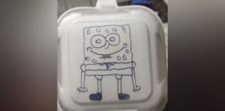 Bob Esponja desenhado em caixa de lanche