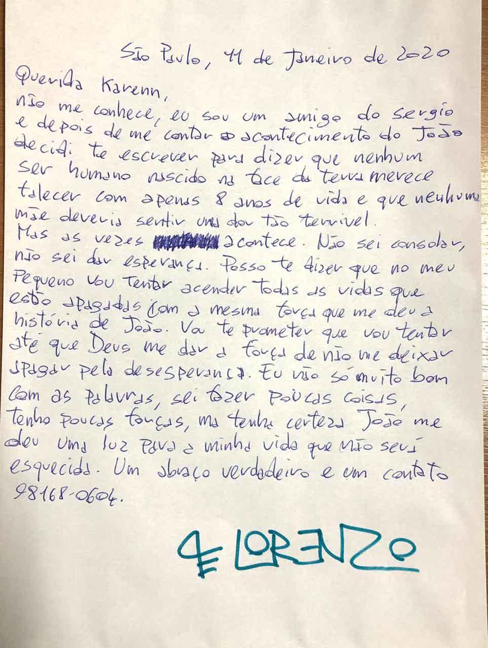 carta mãe aluno professora luto morte filho