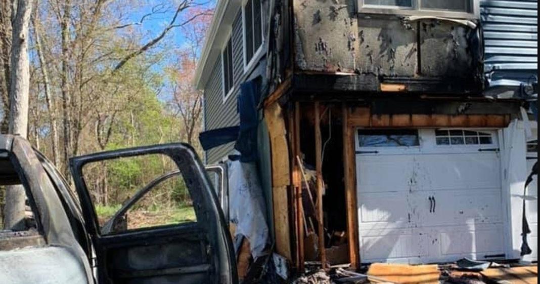 Casa e carro incendiado