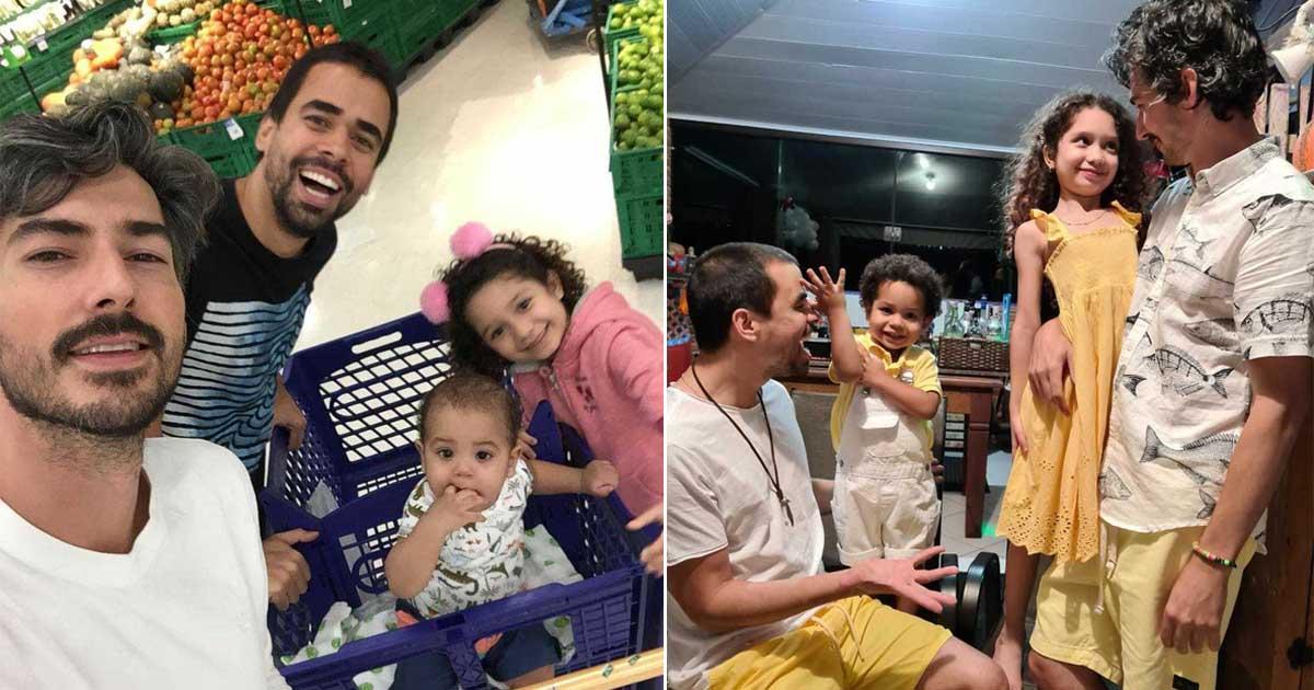 selfie casal gay filhos adotivos supermercado