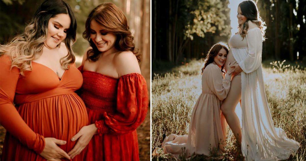 ensaio casal lésbicas gravidez