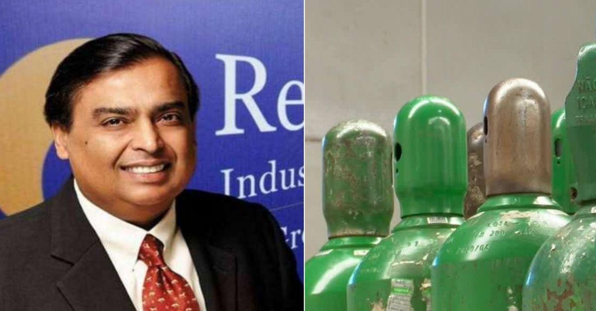 empresário indiano com cilindros oxigênio