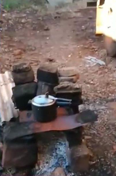 fogão lenha improvisado caminhoneiro