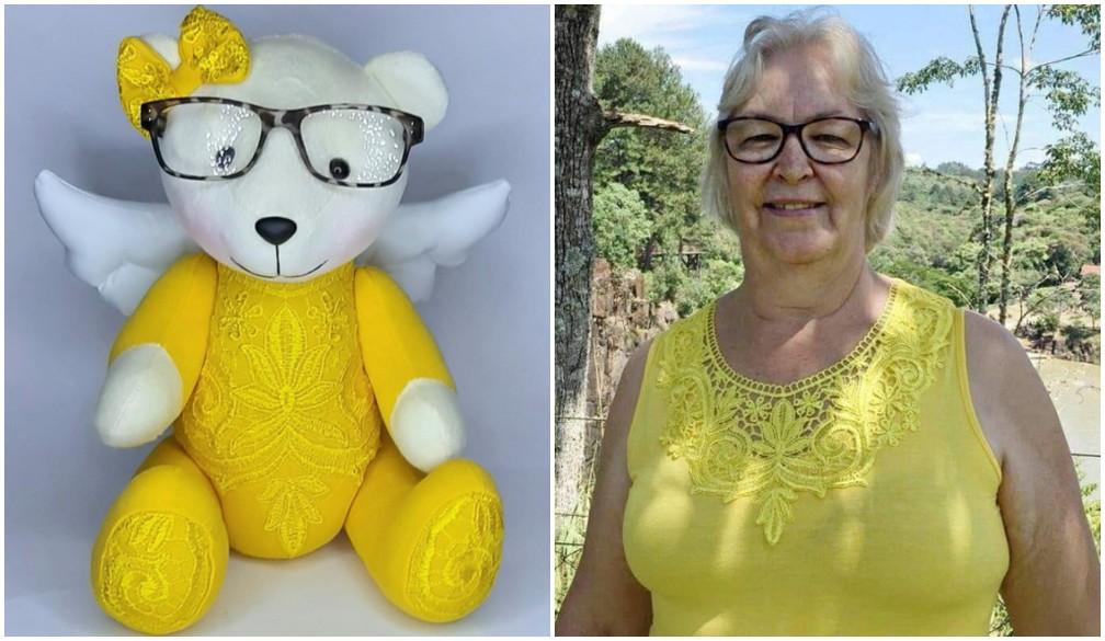 filha confecciona ursinho da memória com roupa da mãe falecida