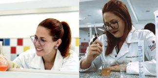Jovem farmacêutica em laboratório