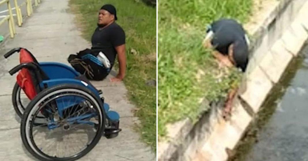 homem sai cadeira de rodas salvar gatinho esgoto