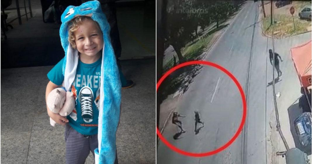 Filmagem mostra menino sendo atropelado e menino em foco ao lado