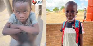Menino angolano na rua e depois em escola