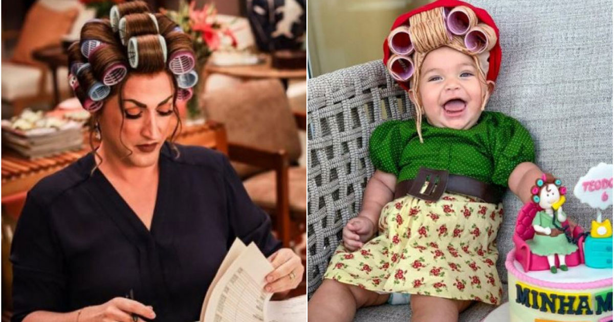 Paulo Gustavo e bebê fantasiados de Dona Hermínia