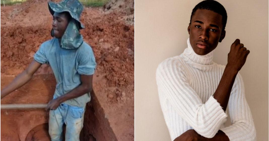 Jovem vira modelo após trabalhar como pedreiro