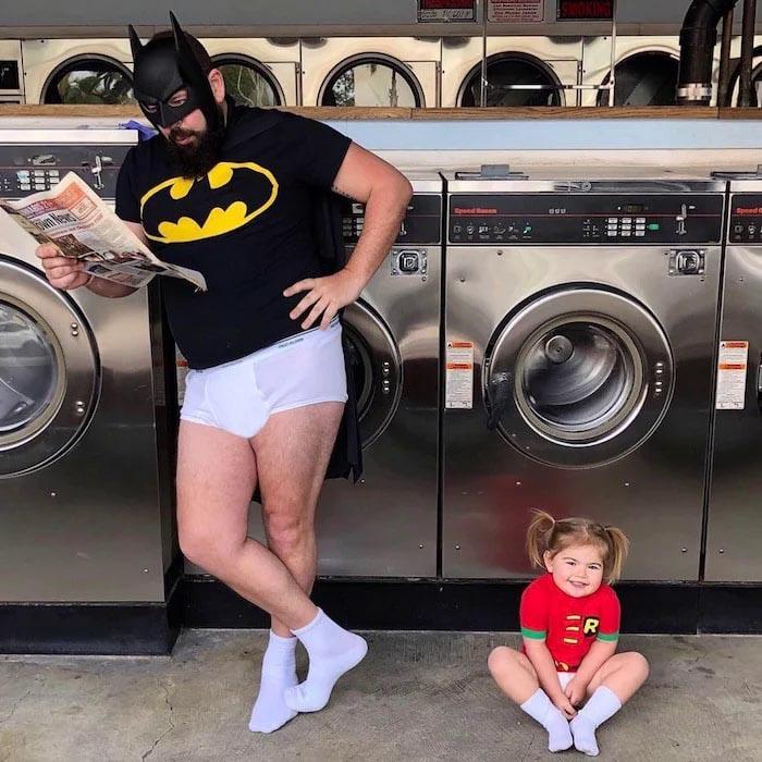 pai filha foto tema batman robin