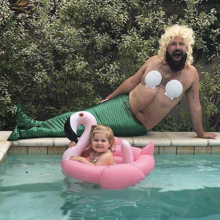 pai filha foto tema a pequena sereia