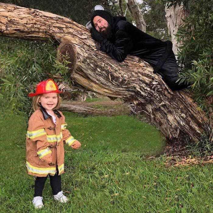 pai filha foto tema bombeiro