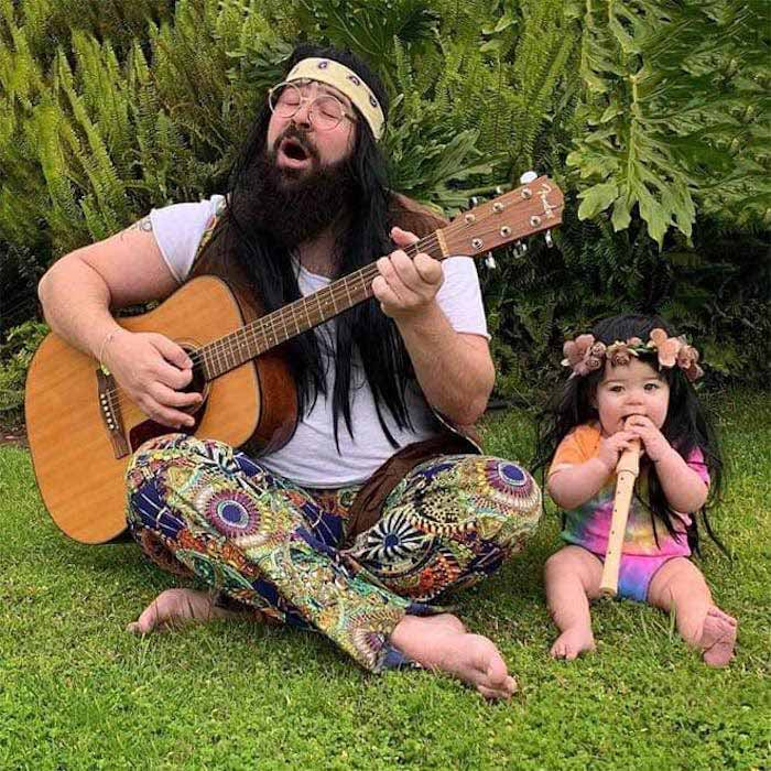 pai filha foto tema hippies