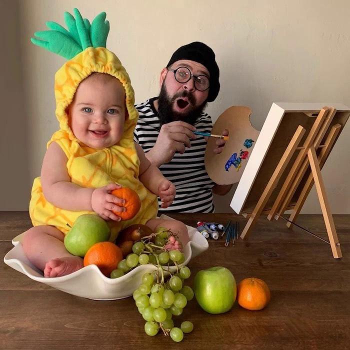 pai filha foto tema pintor