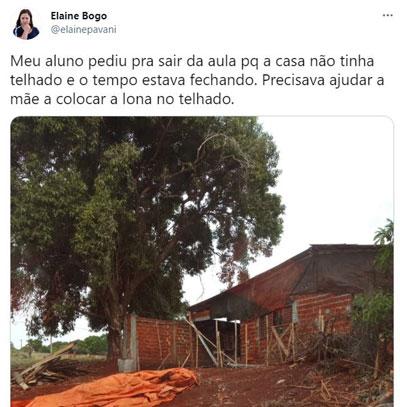 Tweet de professora mostrando casa de aluno