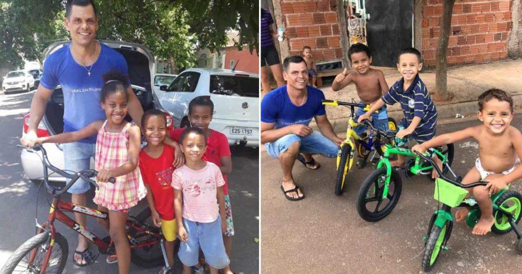 sargento doa bicicleta crianças