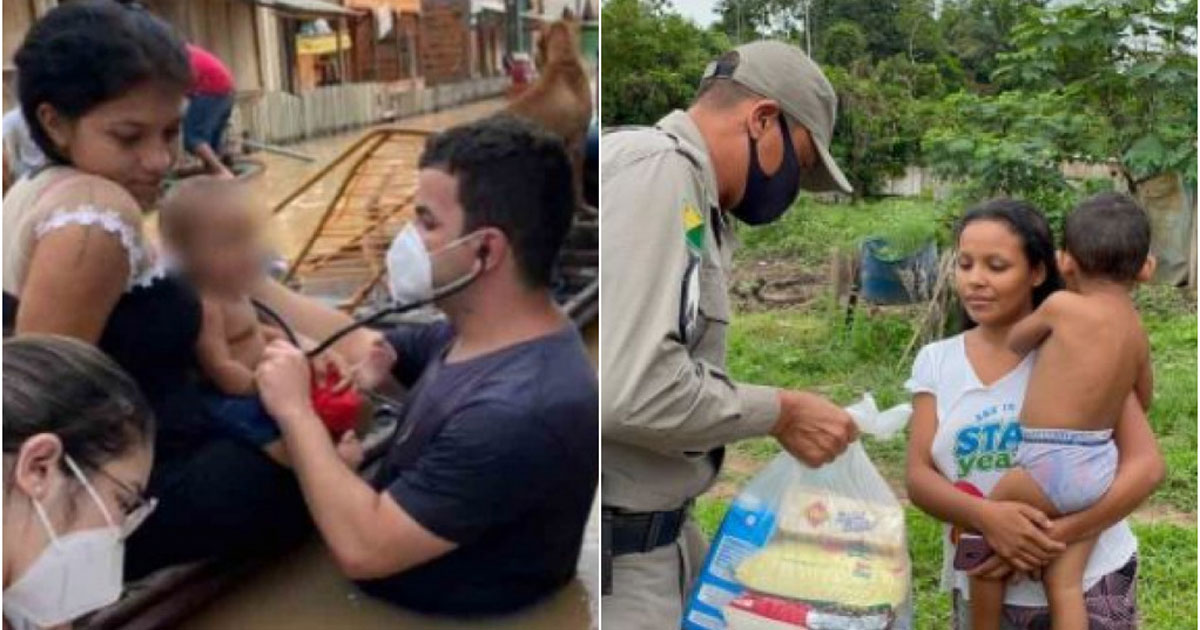 Médico atendendo criança em barco e policial entregando cesta básica