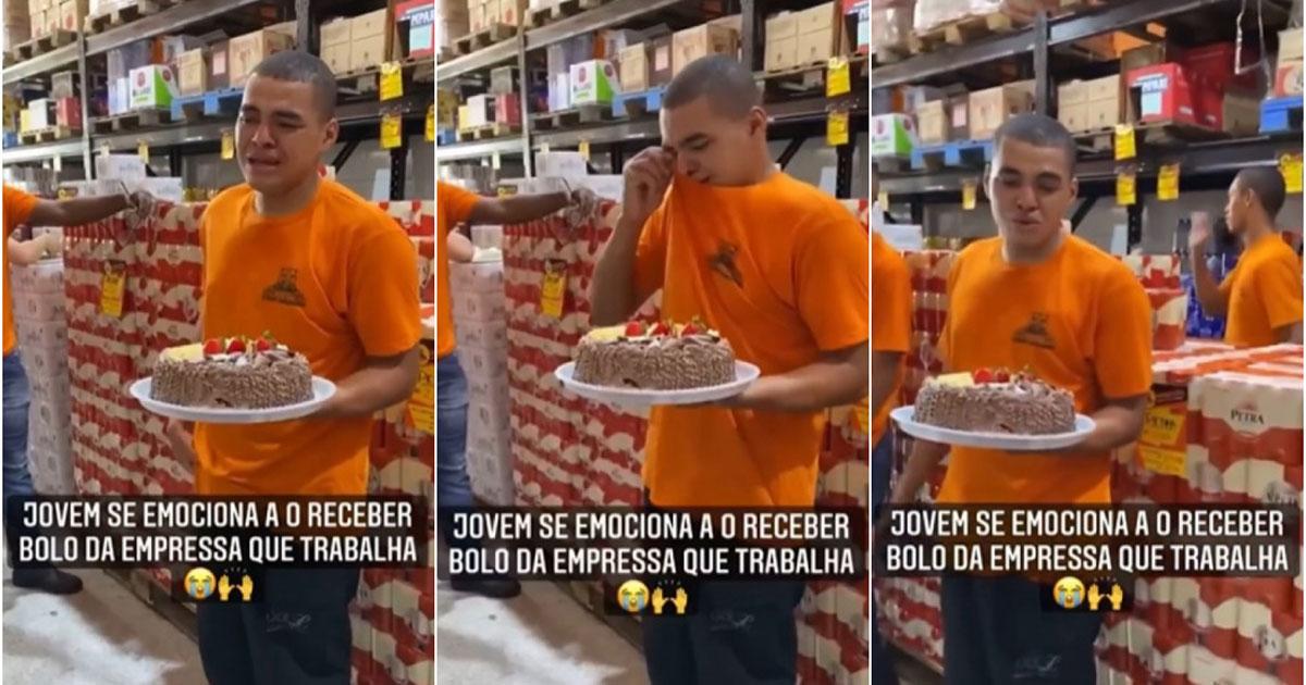 Rapaz chorando ao receber bolo de aniversário
