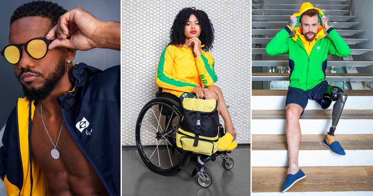ensaio atletas paralímpicos uniformes jogos tokyo