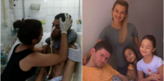 Esposa cuida de marido após acidente