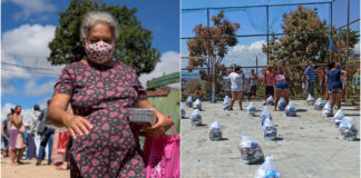 Entrega de cestas básicas e quentinhas