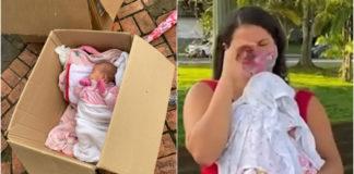 Bebê em caixa de papelão e mãe chorando