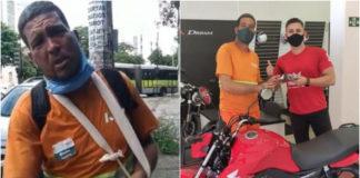 Gari comprando moto nova após ser assaltado
