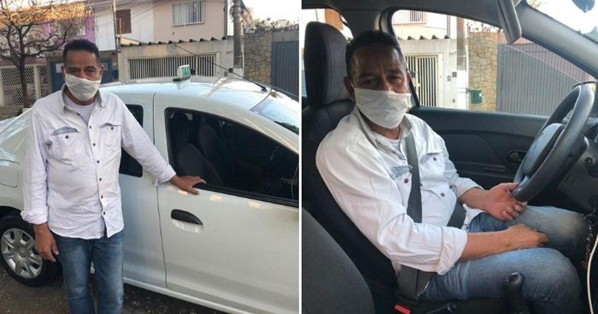 Motorista de taxi em frente a carro