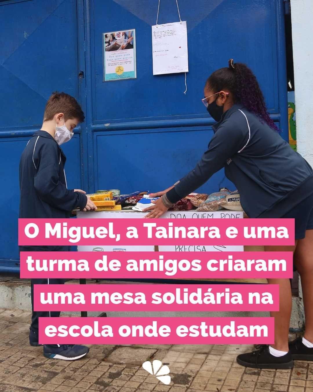 crianças de escola criam mesa solidária