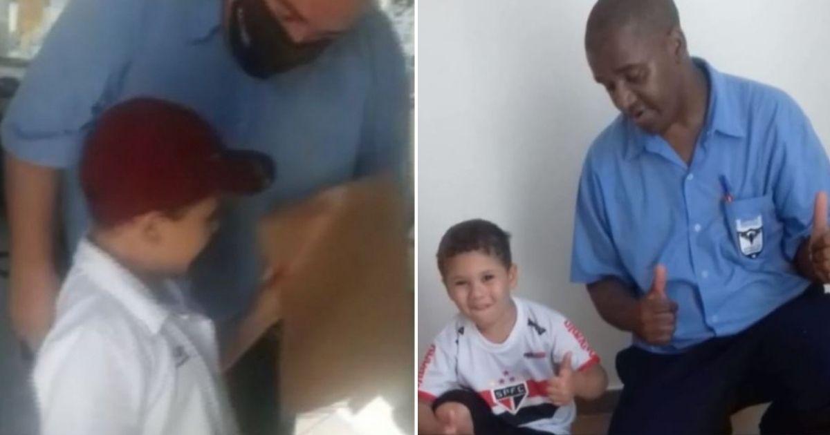 menino de 5 anos leva currículo onde pai trabalhava