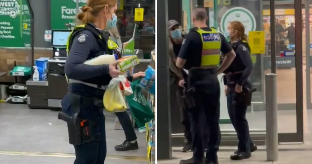 policiais ajudam morador de rua