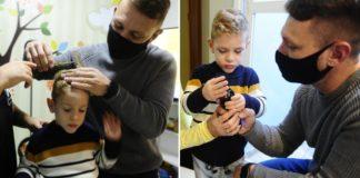 Pai faz curso de barbeiro para cortar cabelo de filho autista que tem medo de ir ao salão