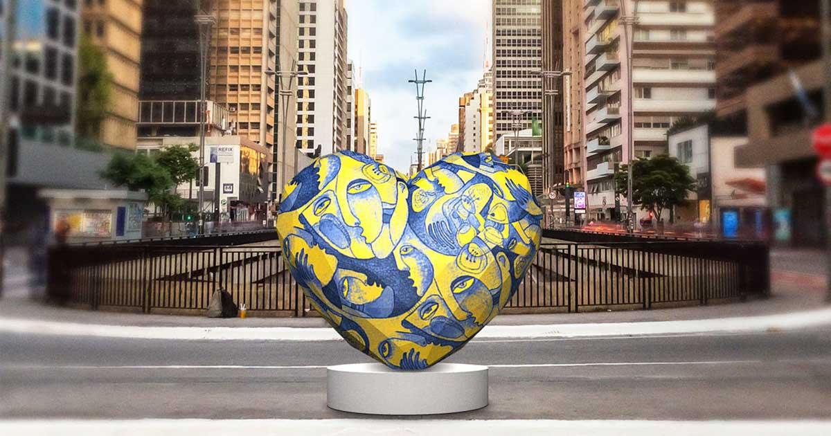 escultura coração viaduto avenida são paulo