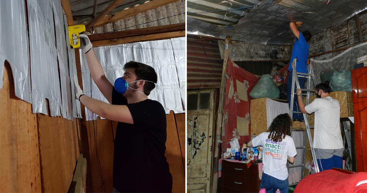 estudantes instalam caixas de leite barraco madeira