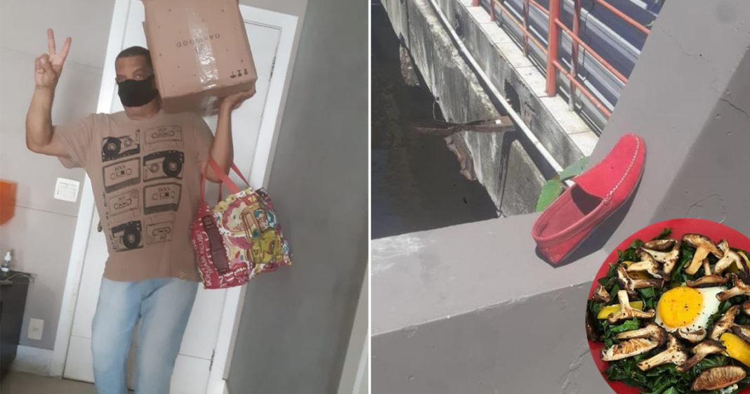 vendedor carregando sacolas cogumelos