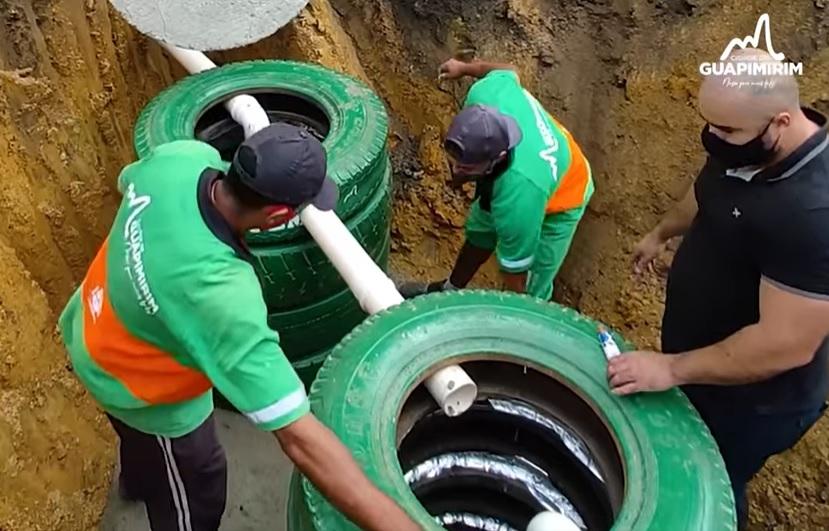 fossa ecológica de baixo custo feita com pneus