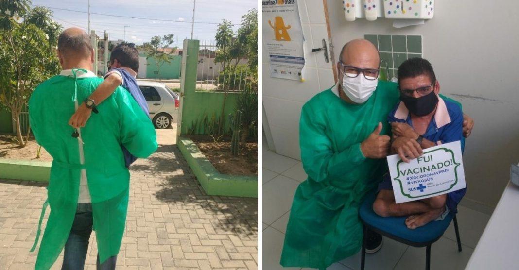 enfermeiro carrega homem com deficiência nos braços