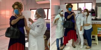 cabeleireiro vai se vacinar contra covid vestido dona hermínia