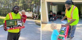 motorista presenteia crianças caminhão coleta brinquedo