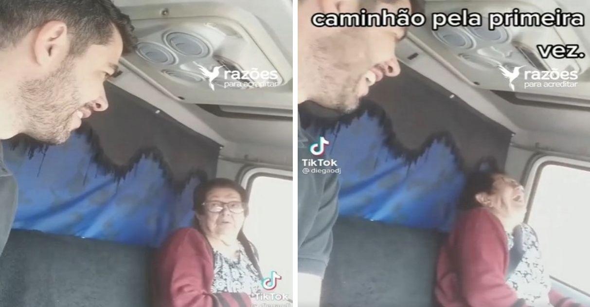 neto leva avó para viajar de caminhão