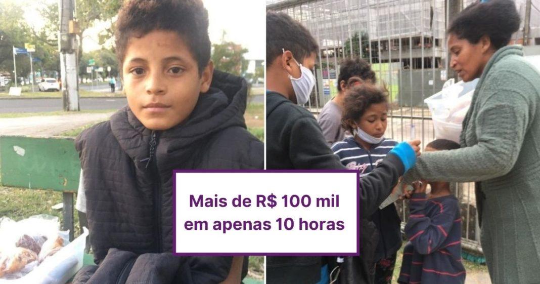 Em tempo recorde, criança que vende bolos na rua para ajudar mãe dobra meta da vaquinha