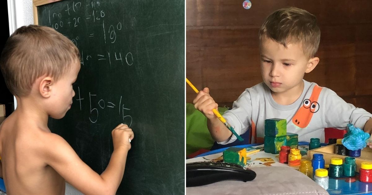 Menino com altas habilidades sorrindo em frente a quadro negro com giz e apagador na mão e Menino com altas habilidades segurando pincel