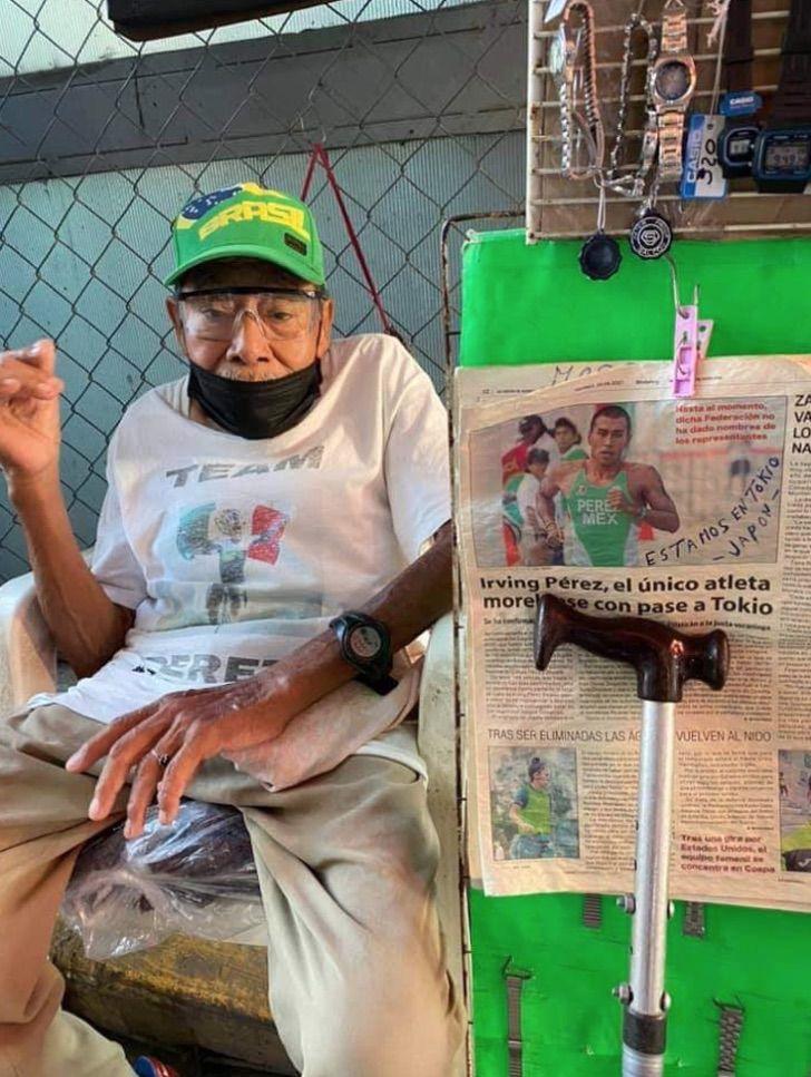 avô atleta olímpico enfeita barraca apoiar neto