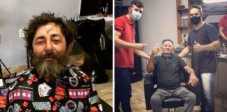 morador de rua ganha dia de transformação barbearia